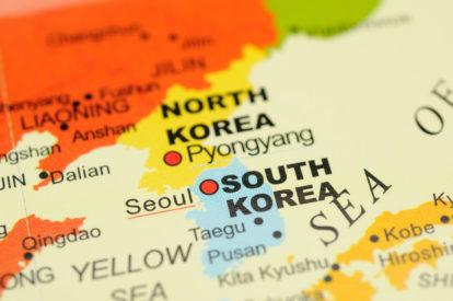 Close up of Seoul, South Korea on map